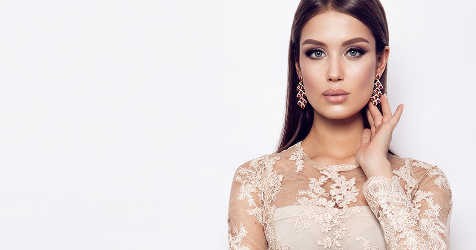 WOman wearing lace dress with beautiful face
